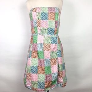 Vineyard Vines Seaside Dress Strapless Patchwork